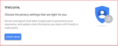 Fig 1 - Google privacy settings - getting started