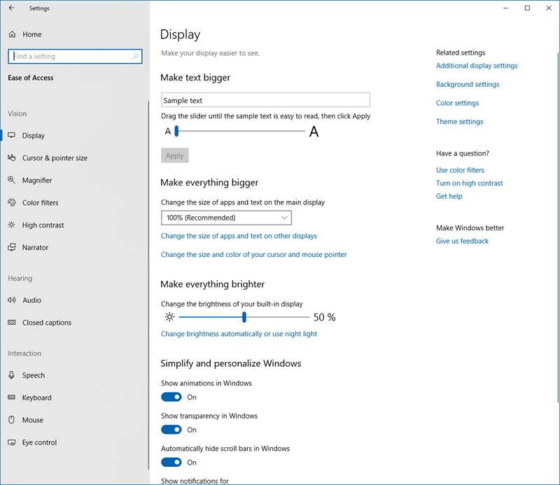 Ease of Access Settings in Windows 10
