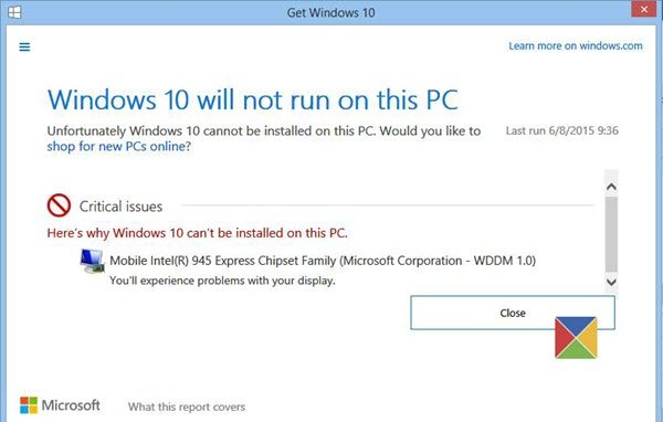 Windows 10 will not run on this PC