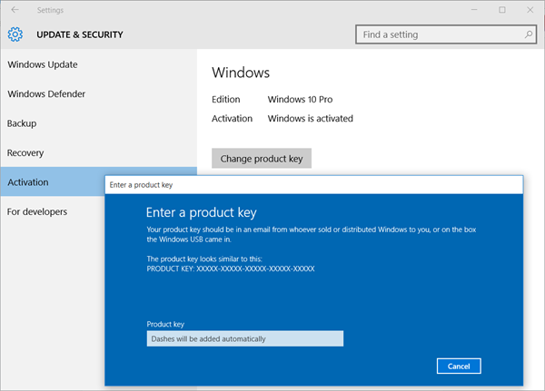 Check Windows 10 activation status. Change product key