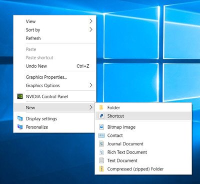 Create shortcuts Settings Windows 10