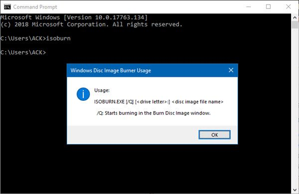 Burn ISO files using Command Prompt