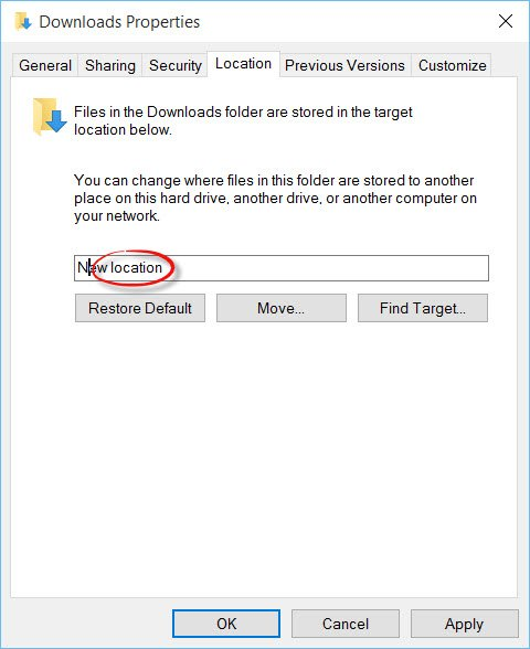 Change default download folder location in Edge
