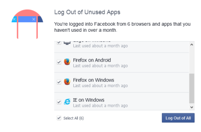 Fig 2 - Log out of unwanted devices - Facebook security