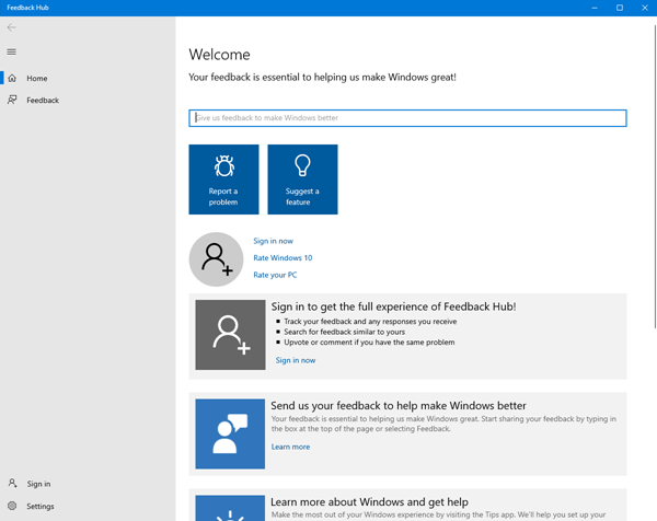 How to submit feedback about Windows 10 using Feedback Hub app