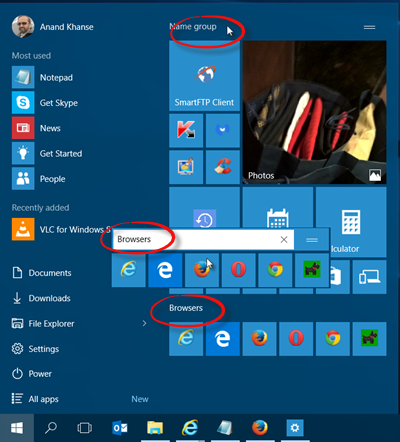 Name Tile groups windows 10