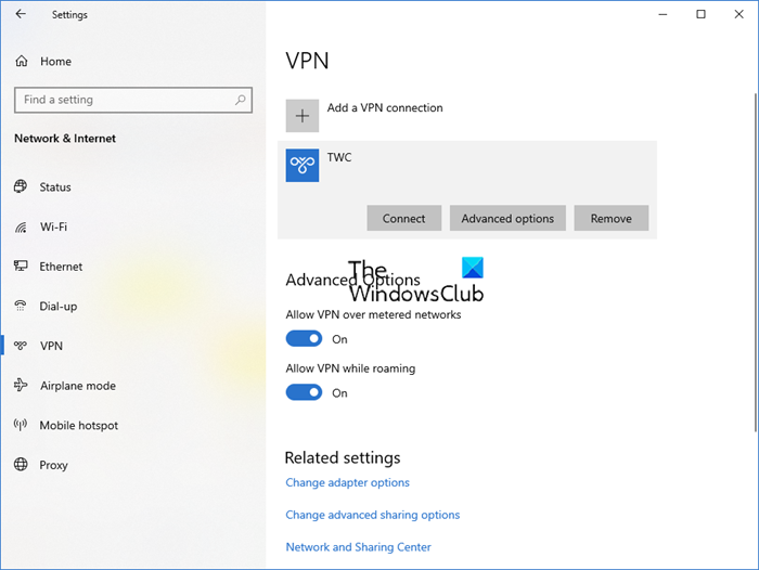 Set up VPN connection in Windows 10