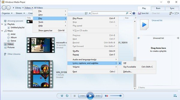 Turn On or Off Subtitles from Windows Media Player