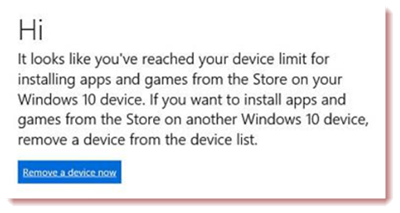 Device limit reached in Windows 10