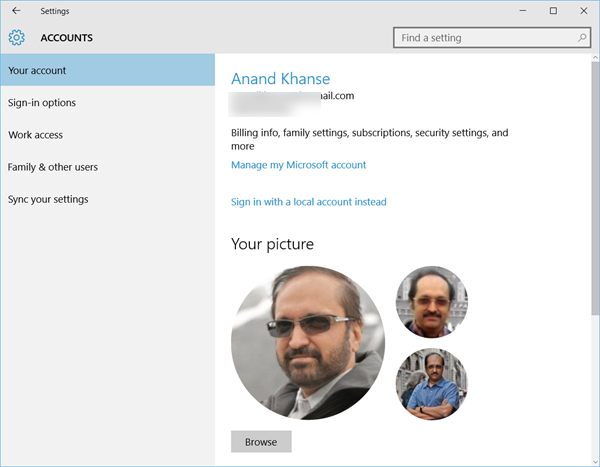 Remove old User Account Pictures in Windows 10