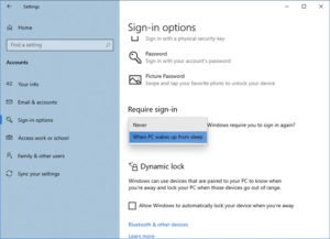 Make Windows 10 PC require password