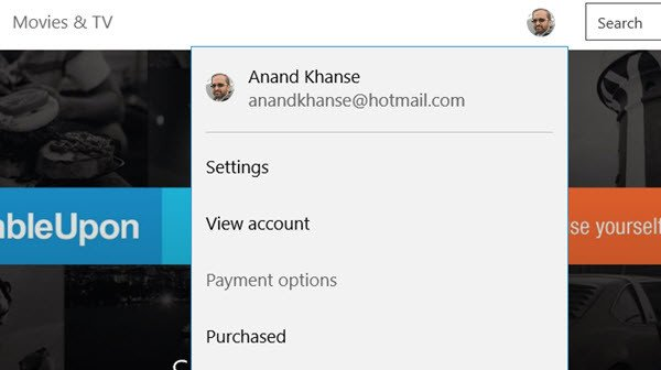 Payment Method in Windows 10 Store