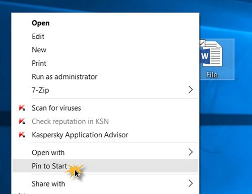 Pin any file to Start Menu in Windows 10