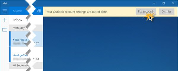 Your Outlook account settings are out of date 2
