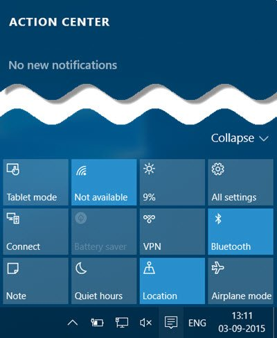 Disable Notification & Action Center in Windows 10