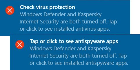 suppress Security Center notifications in Windows 10