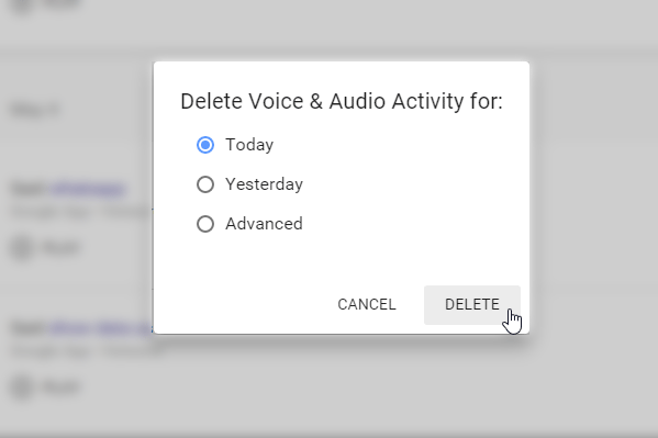 delete recorded Google Now Voice Commands