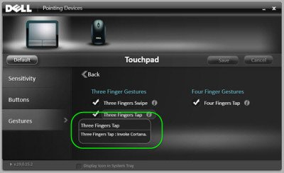 Enable 3-finger Tap to launch Cortana