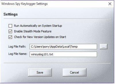 keylogger settings