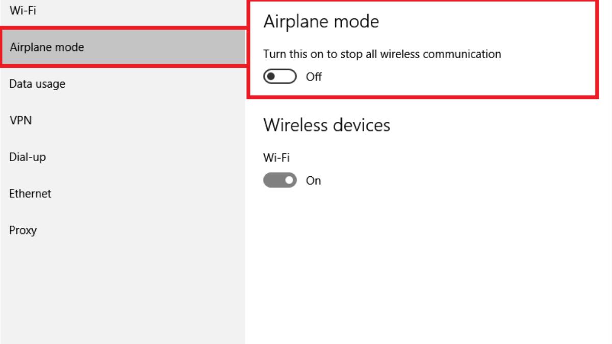 Cách Bật Chế Độ Trên Máy Bay Trong Windows 10 - VERA STAR