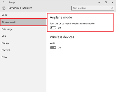 Airplane Mode in Windows 10