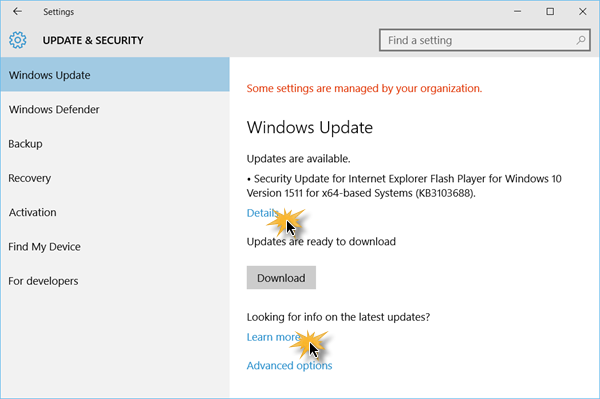 Check for updates in Windows 10 2