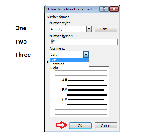 Customize Numbered list in word select Alignment