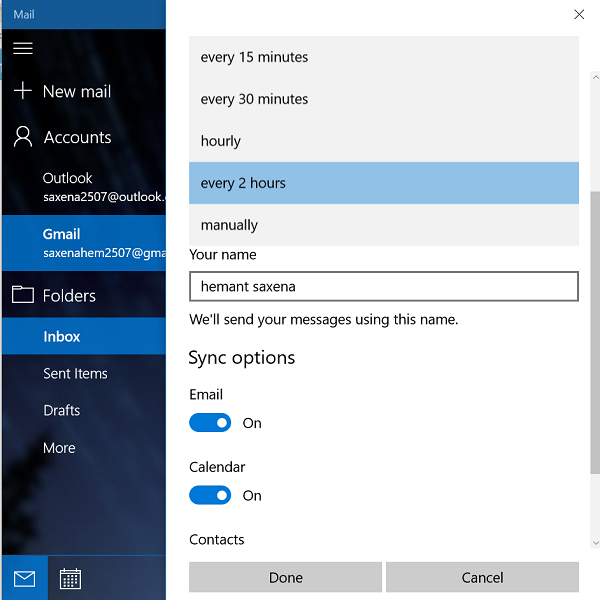 Sync Mail Settings done