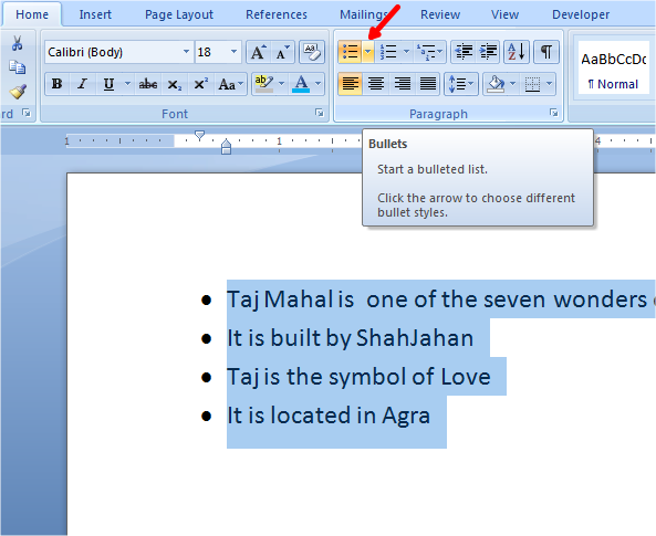 bullets in word click bullets dropdown