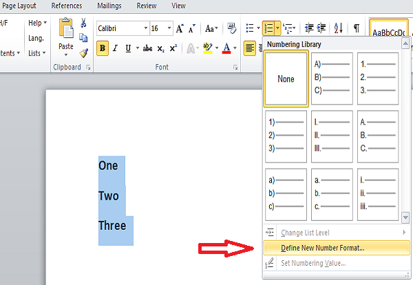 change Numbered list in word click define number format