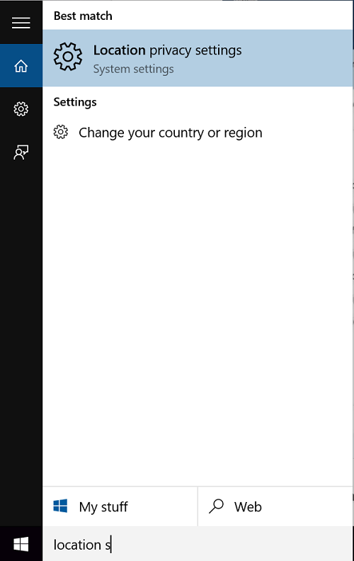 change location settings