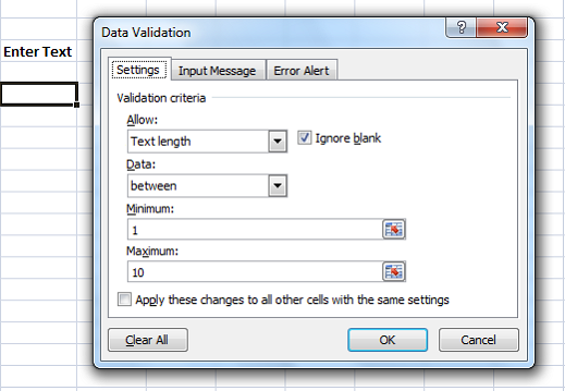 error messages in excel data validation settings