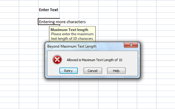 error messages in excel shown error message