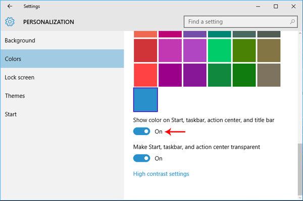 Get colored Title Bars in Windows 10