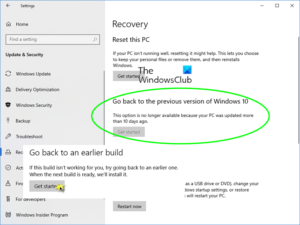 go back to previous version of windows 10