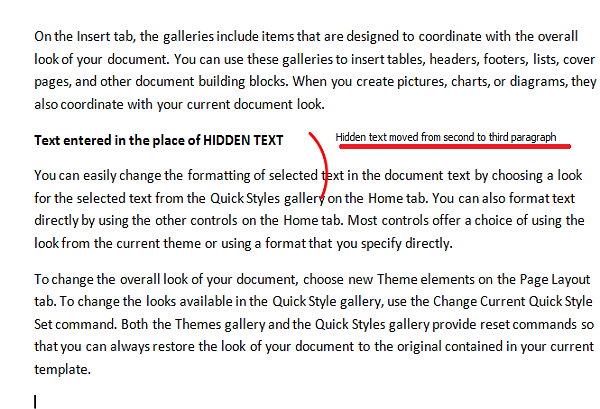 hidden text in word moved the position
