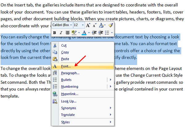 hide text in word using font