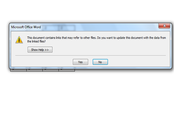 insert excel spreadsheet in word warning message