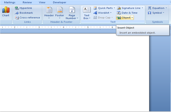 insert excelspreadsheet in word using object