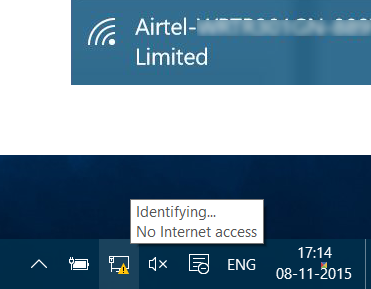 limited network connectivity windows 10