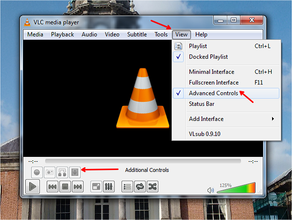 record desktop screen using vlc player additional controls