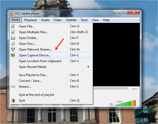 record videos using vlc player open capture device