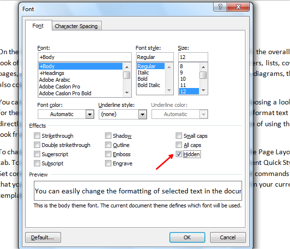 show and hide text in word font dialog box