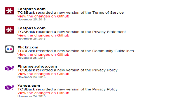 tosback summarizes terms and conditions