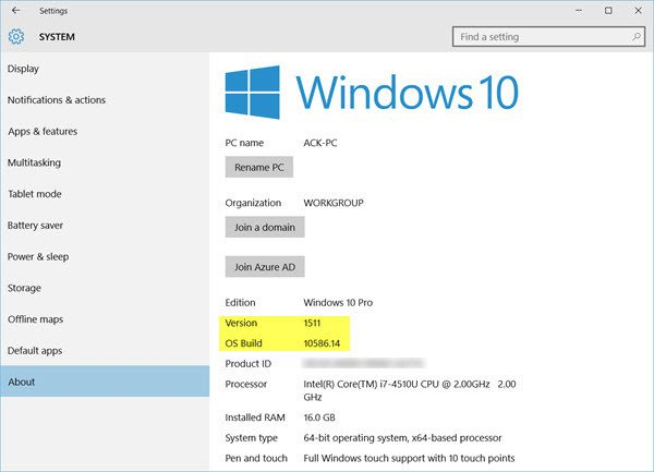 How to check the Windows 10 version