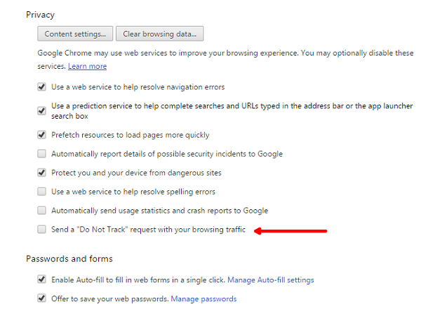Chrome tips and tricks enable do not track in Chrome