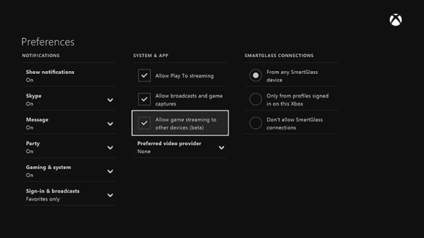 Use Wi-Fi Connected Windows 10 Surface to play Xbox One games