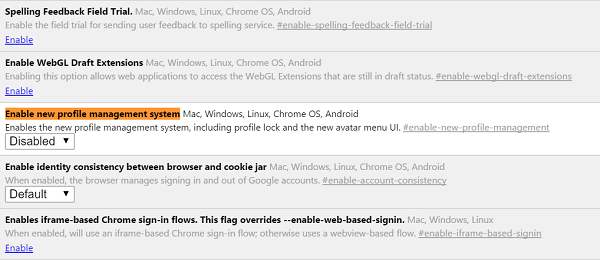 profile manager in google chrome