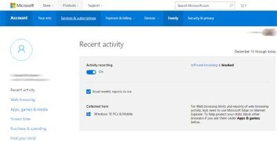 Microsoft Family Safety for Windows 10