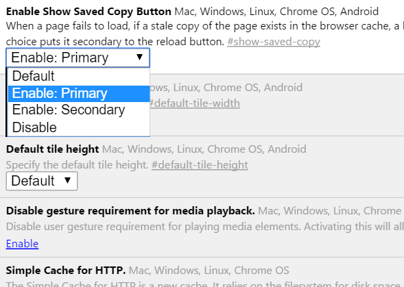 offline browsing in google chrome enable show saved copy option